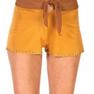 Shorts tinta unita ricamo borchie colore 022 tabacco