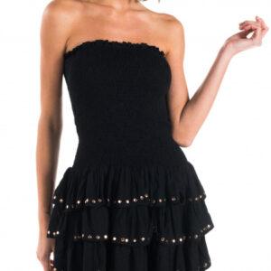 Abito bolero dress borchie tinta unita  colore 034 nero