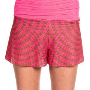 Shorts con fusciacca in vita pied de poul rosa/cuoio
