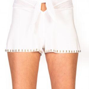 Shorts tinta unita ricamo borchie bianco
