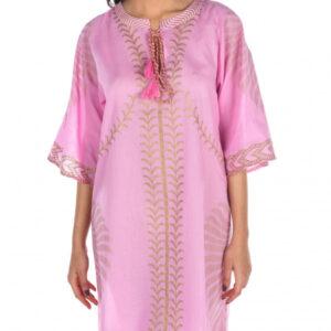 Abito cotone foglia oro  rosa